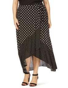 Beme Maxi Ruffle Wrap Spot Skirt