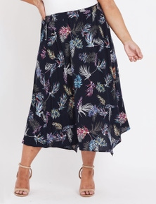 Beme Peak Hem Ikat Midi Skirt