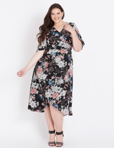 Beme Elbow Sleeve Wrap Floral Dress