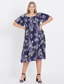 Beme Elbow Off Shoulder Ornate Print Dress