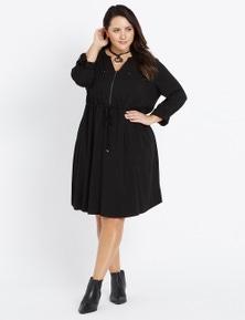 Beme 3/4 Sleeve Zip Front Dress