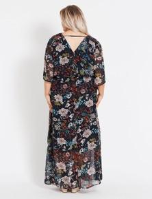 Beme Elbow Sleeve V Neck Tie Waist Maxi Dress