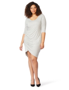 Rebel Wilson Wrap Dress W/ Ruched Detail