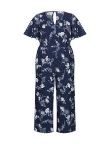 Beme Short Flutter Sleeve Floral Jumpsuit