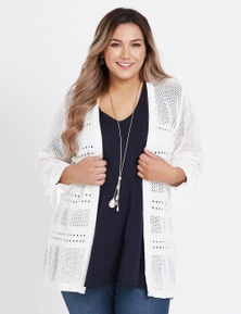 Beme 3/4 Sleeve Open Knit Cotton Cardigan