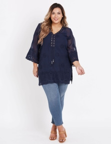Beme 3/4 Sleeve Embroidered Ring Neck Tunic
