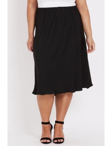 Beme below knee plain bias skirt