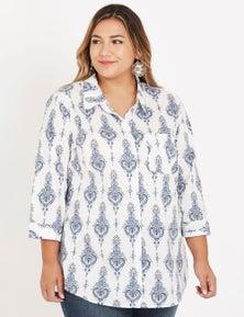 Beme 3Q sleeve button front cotton shirt