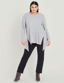 Beme long sleeve rib pretend knit top