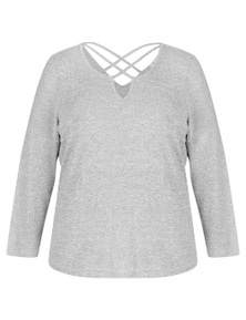 BEME LONG SLV PRETEND KNIT TOP