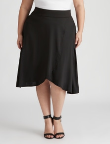 Beme knee faux wrap ity skirt