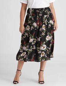 Beme below knee smocked skirt