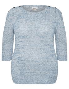 Beme 3Q sleeve button trim true knit top