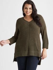 Beme 3Q sleeve V neck true knit top