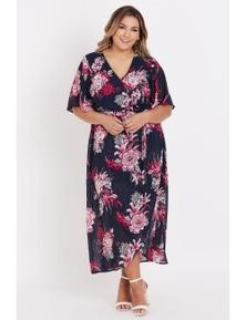 Beme elbow flutter sleeve wrap maxi dress