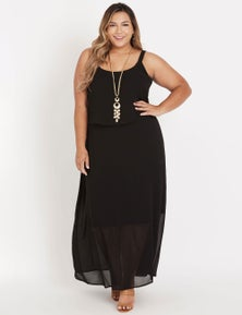 Beme strappy layered maxi dress