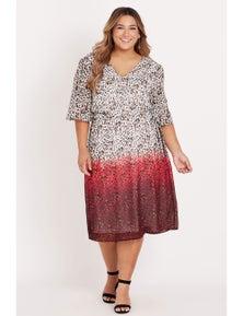 Beme elbow sleeve faux wrap dress