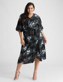 Beme elbow sleeve midi faux wrap dress