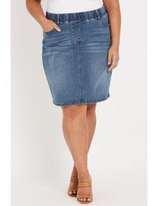 Beme knee length pull on denim skirt