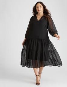 BEME Long Sleeve SEAMED MAXI DRESS