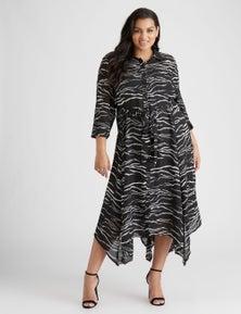 BEME L/S HANKY HEM SHIRT DRESS