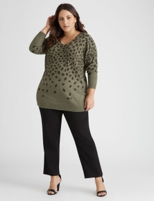 Beme Long Sleeve V Neck Novelty Jumper