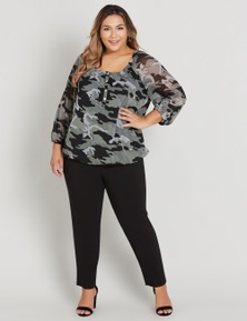 CURVE SOCIETY 3/4 SLEEVE BUTTON TRIM MESH TOP