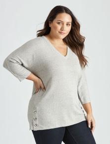 Curve Society 3Q slv h/w trim pretend knit top