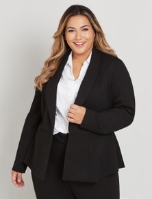 CURVE SOCIETY LONG SLEEVE COLLARED PONTE JACKET