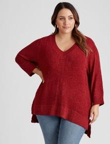 Curve Society 3Q sleeve V neck true knit top