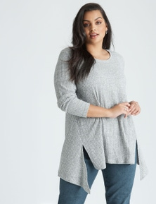 Curve Society long sleeve rib pretend knit top