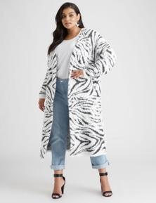 Curve Society Long Sleeve Zebra Feather Cardigan