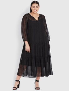 Curve Society Long Sleeve Seamed Maxi Dress