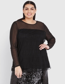 CURVE SOCIETY LONG SLEEVE MESH TOP