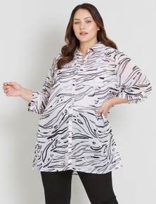 BEME 3/4 SLEEVE BUTTON FRONT TOP