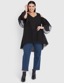 BEME LONG SLEEVE COLD SHOULDER TOP