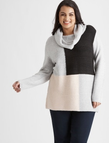BEME LONG SLEEVE COLOUR BLOCK KNIT JUMPER