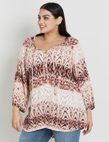 BEME 3/4 SLEEVE BUTTON FRONT PRINTED BLOUSE