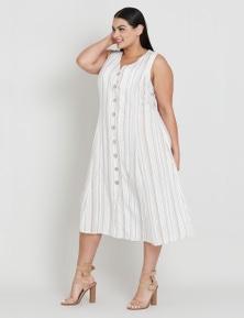 Beme Sleeveless Button Through Midi Dress
