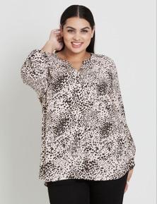 Beme Long Sleeve Leopard Swirl Shirt
