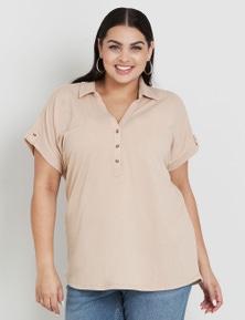 Beme Short Sleeve Shirt Style Textured Top