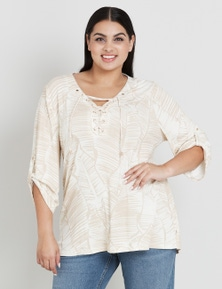 Beme Elbow Sleeve Lace Up Shirt Style Top