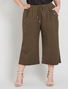 Beme Linen Wide Leg Crop Pant