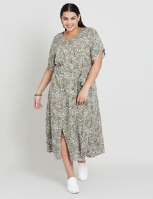 Beme S/S V-Neck Midi Print Dress