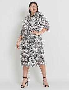 Beme Abstract Print Linen Dress