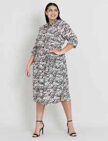 Beme Abstract Print Linen Dress