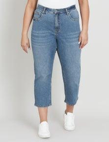 Beme High Rise Straight Cut Off Jean