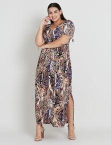 Beme Frill Bottom Maxi Print Dress