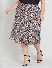 Beme Midi Button Down Abstract Zebra Print Skirt