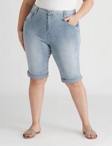 Beme Knee Length Rolled Up Denim Short